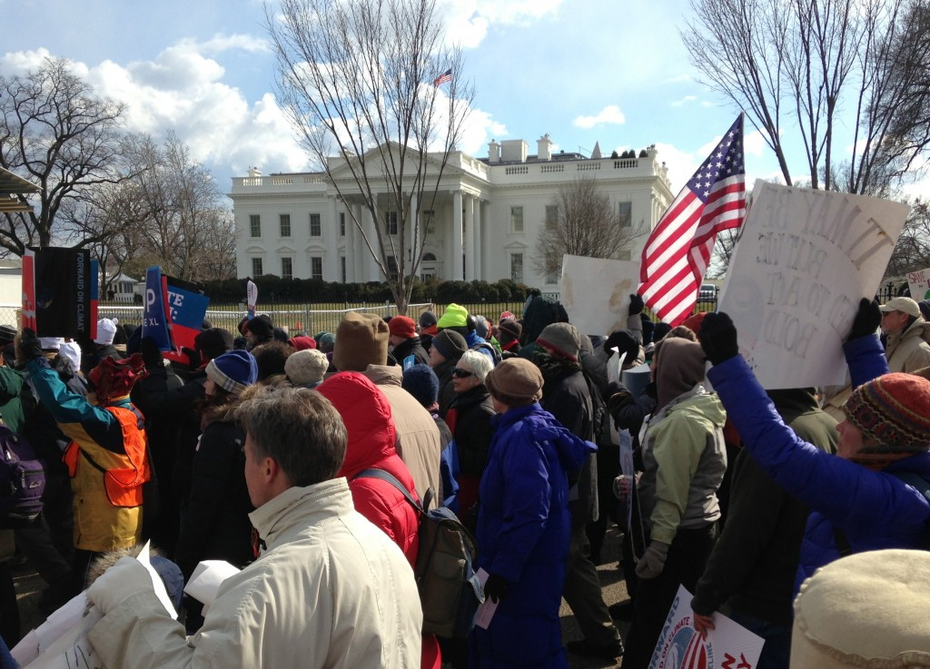 Forward on Climate marchers pass the White House
