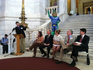 Environmental Groups lobbied legislators en masse on Tuesday. (L to R Mike Roles, Tricia Jedele, Gov. Lincoln Chafee, Nicole Pollock, Rep. Art Handy, and Francis Pullaro of RENEW NE.