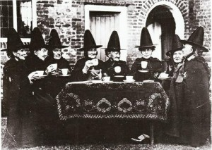 Witches drinking tea.