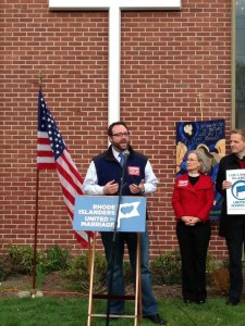Ray Sullivan, of Rhode Islanders United for Marriage, in East Providence last night.