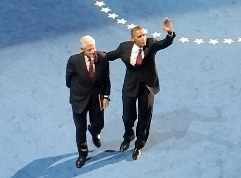 President Clinton and Obama after the nominating speech at the DNC, Sept. 5