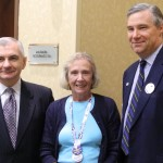 Sen. Jack Reed, delegate Mary Alyce Gasbarro, Sen. Sheldon Whitehouse at delegation breakfast on the last day of the DNC. (Photo by John McDaid)