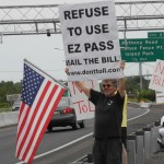 Portsmouth's John Flanders at the Sakonnet Bridge anti-toll protest. Photo: Jack McDaid.