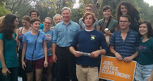 Students from Brown and URI with Sen. Sheldon Whitehouse at the People's Climate March