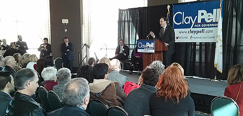 Clay Pell announces candidacy for governor at RI Convention Center.