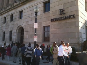 Members of Local 217 gather outside the Renaissance Hotel for an Informational Picket.