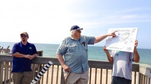 Jon Boothroyd and Bryan Oakley, Geologists with the Rhode Island Geological Survey provide a historical account of coastal erosion in South Kingstown. (Photo Tracey C. O'Neill)