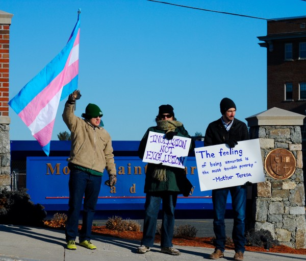 2016-03-05 Mt St Charles trans exclusion policy protest 001