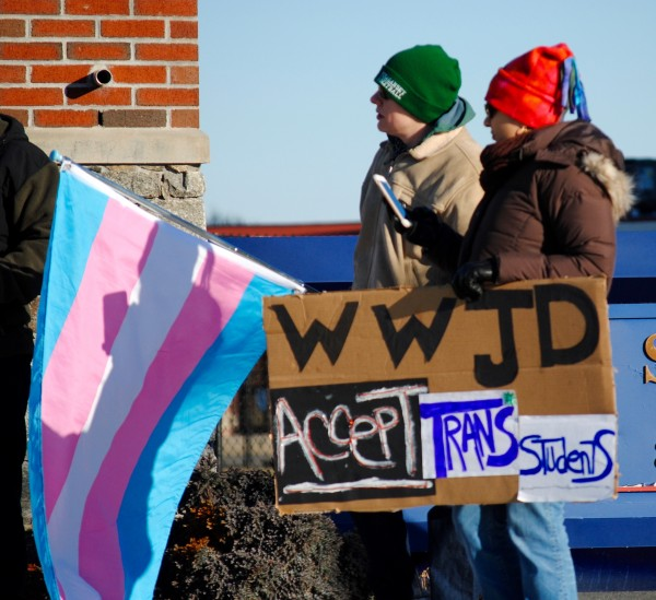 2016-03-05 Mt St Charles trans exclusion policy protest 017