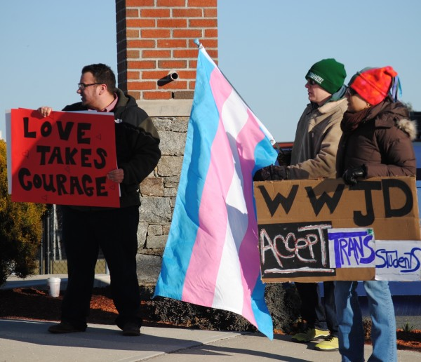 2016-03-05 Mt St Charles trans exclusion policy protest 018