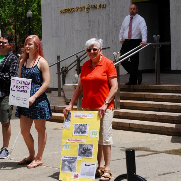 Peace activists protested outside Textron today. (Photos by Steve Ahlquist)