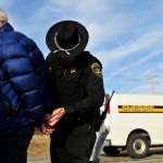 Bill McKibben  arrested at a protest at Seneca Lake near Reading, N.Y., on March 7. He was protesting the proposed expansion of a natural gas storage facility. Credit Monica Lopossay for The New York Times