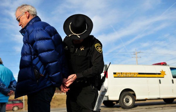 Bill McKibben was arrested during a protest at Seneca Lake near Reading, N.Y., on March 7. He was protesting the proposed expansion of a natural gas storage facility. Credit Monica Lopossay for The New York Times