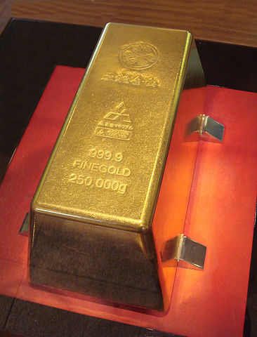 The largest bar of gold in the world (via Wikipedia)