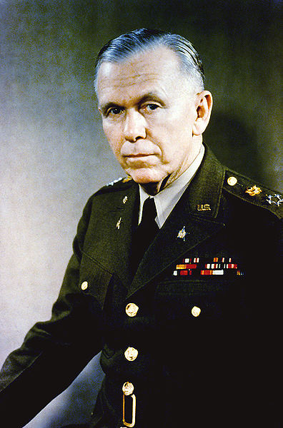 "Gen. George C. Marshall, Sec. of State following World War 2 and chief architect of the European Recovery Program popularly known as the ""Marshall Plan"""