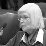 Civil Rights-era activist Adele Bourne speaks against Raptakis highway protest bill