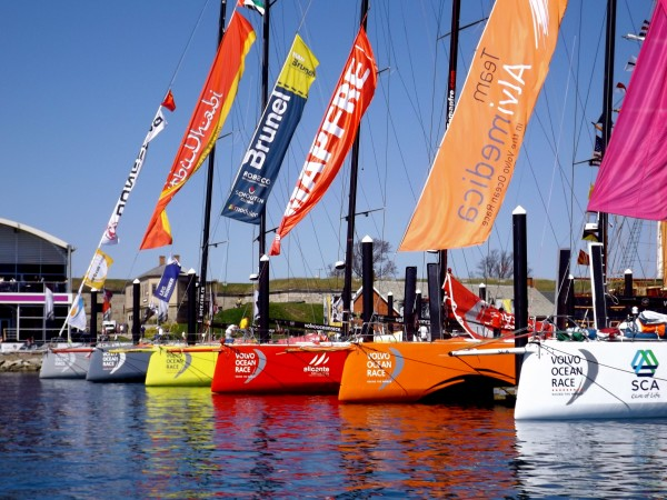 The Volvo Ocean Race boats berthed at Ft. Adams in Newport