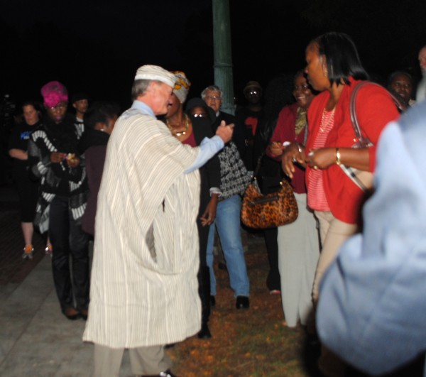 Gov Chafee dressed in traditional Liberian clothes. Photo by Steve Ahlquist.