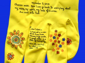 Close up of the Election Gloves by Jessica Rosner