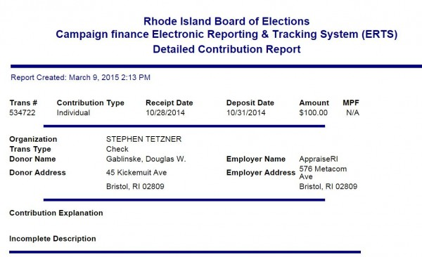 One of several public records listing Gablinske as living at an address other than where he is registered to vote.