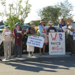 Raging Grannies protest outside a Barry Hinckley fundraiser at the Ocean House in Westerly (Photo by Danielle Dirocco)