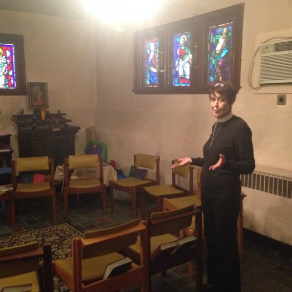 Reverend Joyce Penfield in the St. Peter's and St. Andrew's Church.