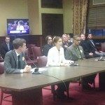 From Left: Jared Moffat, Rebecca McGoldrick, and Diego Arene-Morley testify in support of S510.