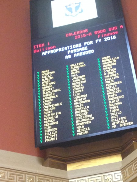 Photo of the final House vote on the FY16 budget