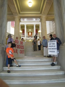 Occupy Providence and friends about to deliver a no bailout petition at the Rhode Island State House