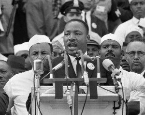 The 1963 March on Washington. The men in white hats behind King were members of the United Auto Workers.