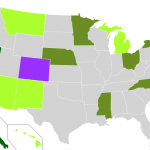 Light green: state with legal medical cannabis; forest green: state with decriminalized cannabis possession laws; blue green: state with both medical and decriminalization laws; purple: legalized marijuana. Click on image for larger version. Courtesy of Wikipedia. 