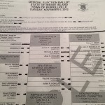 Paper ballot with straight party option overridden.