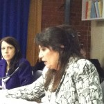 Reps. Karen MacBeth (L) and Charlene Lima offer testimony on limiting and/or eliminating payment to 38 Studios bondholders.