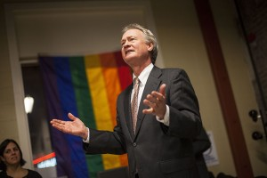 Gov. Chafee pleads for Rhode Island to recognize equal rights for same sex couples. (Photo by Ryan Conaty)
