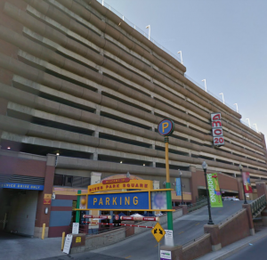 The parking garage in question.  Captured on Google Street View.