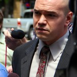 Tim DeChristopher entering Scott Matheson Courthouse July 26, 2011 Salt Lake City Utah USA