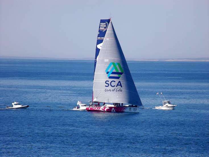 You can see the coast of Block Island behind Team SCA in this one. (Photo by Roberto Bessin.