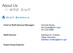 WRB staff web page on May 5, 2016.