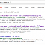 Prior to his post on RI Future, there was only one mention of Aaron Carpenter on Google.