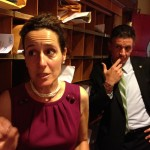 Reps Lisa Baldelli-Hunt and Jon Brien explain to reporters at the State House why they didn't support a property tax increase for Woonsocket. (Photo by Bob Plain)