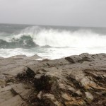 The surf at Beavertail just prior to high tide on Monday morning. (Photo by Bob Plain)