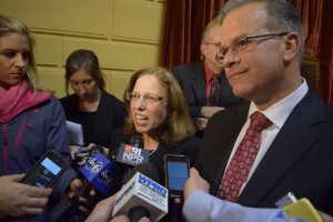 Senate President Paiva Weed and House Speaker Mattiello. Photo by Steve Klamkin, WPRO News