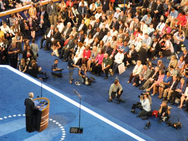Gov. Linc Chafee as seen from the press box at the DNC (Photo by John McDaid)