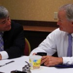 Rhode Island Attorney General Peter Kilmartin and Gov. Linc Chafee (Photo by John McDaid)