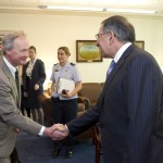 Gov. Chafee meets with Secretary of Defense Leon Panetta before his trip to Afghanistan.