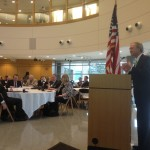 Governor Chafee addressing at Bryant University in 2012. (photo by Bob Plain)
