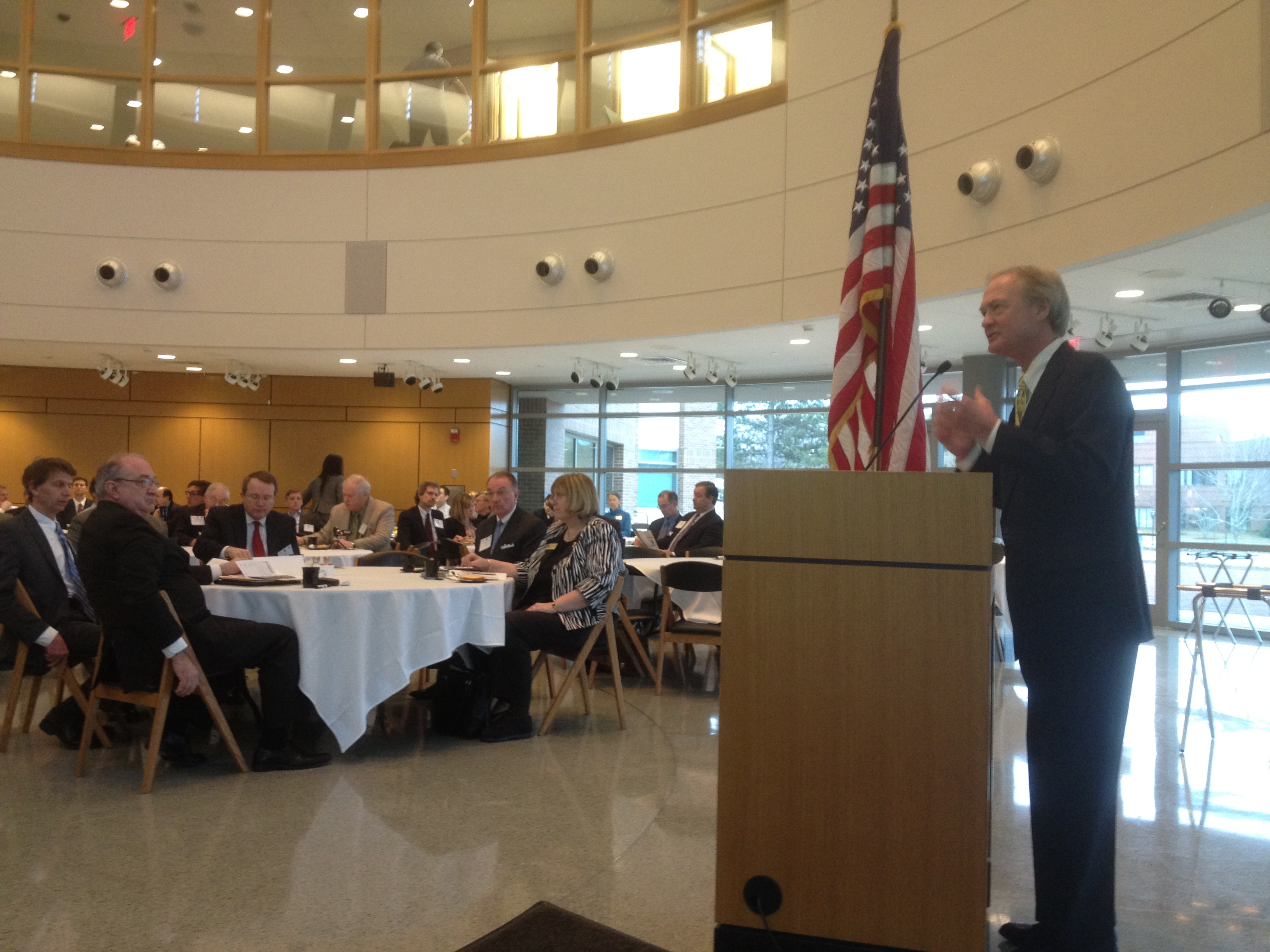 Governor Chafee addressing a much smaller crowd at Bryant University in 2012. (photo by Bob Plain)