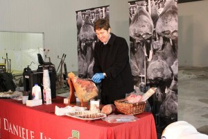 "Daniele co-owner Davide Dukcevich slices of some of his world-famous prosciutto made in Burrillville, RI. He tweeted, ""To be the best ham salesman, you must be a master prosciutto carver."""
