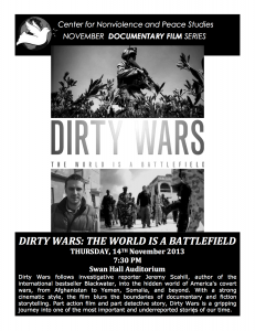 Dirty Wars: The World is a Battlefield,  URI, Kingston, Swan Hall, Thursday Nov. 14, 2013, 7:30 pm