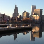 Downtown Providence as seen from the banks of the Providence River on Water Street.